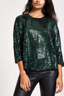 River Island Green Chrissi Sequin Top