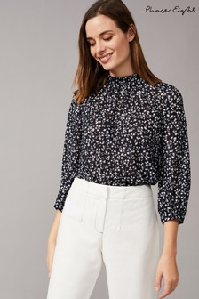 Phase Eight Blue Shani Ditsy Lace Print Blouse