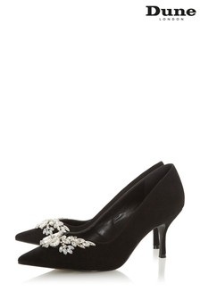 Dune London Black Bianca Jewel Embellished Pointed Toe Court Shoes