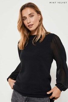 Mint Velvet Black Sheer Woven Sleeve Tunic