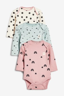 3 Pack Mini Print Long Sleeve Bodysuits (0mths-3yrs)
