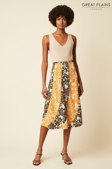 Great Plains Orange Verbena Floral Skirt