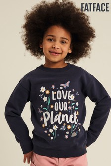 FatFace Navy Love Our Planet Crew Sweat Top