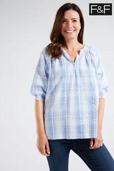 F&F Blue Check Popover Shirt