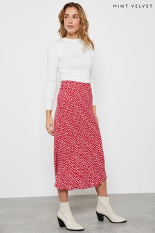 Mint Velvet Red Poppy Lips Midi Slip Skirt