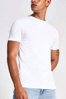 River Island White Short Sleeve Muscle Essential Mb T-Shirt