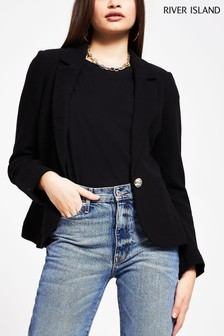 River Island Black Single Breasted Fitted Blazer