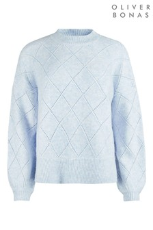 Oliver Bonas Blue Diamond Pointelle Blue Knitted Jumper