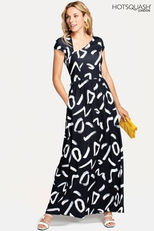 Hot Squash Black Asymmetric Neckline Jersey Maxi Dress