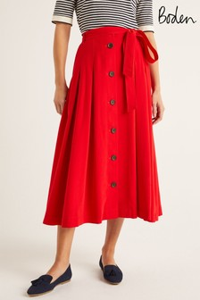 Boden Red Lennox Button Skirt