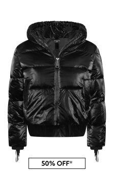 Girls Black Down Padded Fringed Jacket
