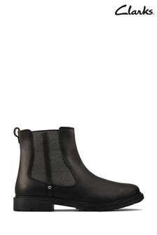Clarks Black Leather Astrol Orin Shoes