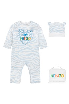 Baby Boys Blue Tiger Cotton Romper Set