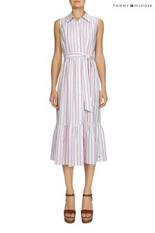 Tommy Hilfiger Pink Phoebe Midi Shirt Dress