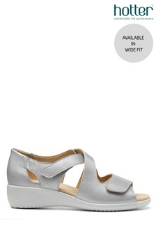 Hotter Metallic Riga Wide Fit Touch Fastening Closed Sandals