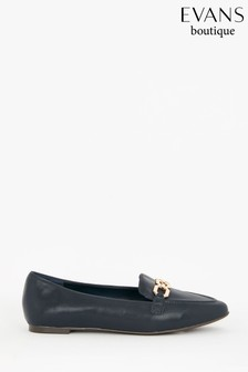 Evans Extra Wide Fit Navy Chain Loafers