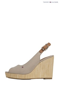 Tommy Hilfiger Camel Elena Slingback High Wedges
