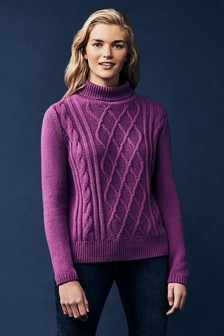 Crew Clothing Purple Cable Roll Neck Jumper