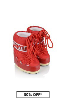 Kids Red Nylon Snow Boots