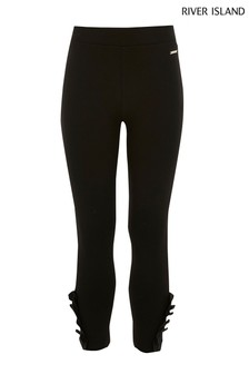 River Island Black Frill Ponte Leggings