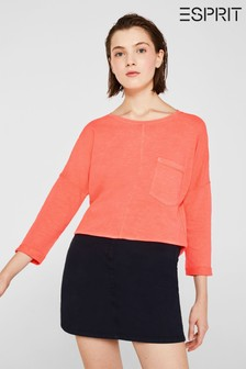 Esprit Pink Jersey Cotton T-Shirt With Long Sleeves