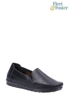 Fleet & Foster Black Shirley Slip-On Shoes