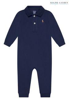 Baby Boys Navy Cotton Polo Coverall