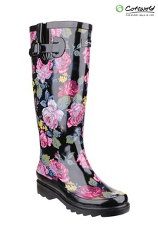 Cotswold Black Rosefest Wellington Boots