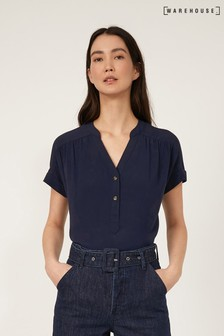 Warehouse Over The Head Short Sleeve Blouse