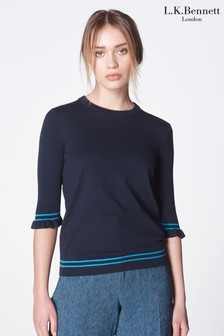 L.K. Bennett Blue Allie Silk And Cotton Sweater