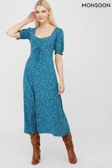 Monsoon Blue Dua Ditsy Print Organic Cotton Tea Dress