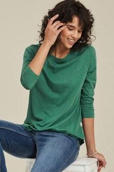 FatFace Green Eve 3/4 Sleeve T-Shirt