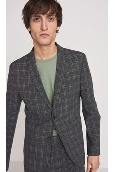 Skinny Fit Motionflex Check Suit: Jacket