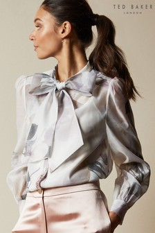 Ted Baker Mirta Bouquet Printed Pussy Bow Top
