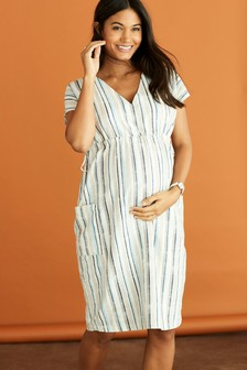 Maternity Pocket Detail Linen Midi Dress