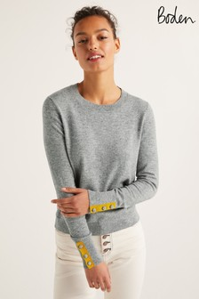 Boden Grey Dorset Button Back Jumper