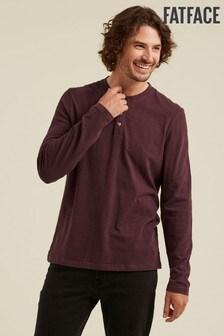 FatFace Purple Foxley Slub Henley T-Shirt