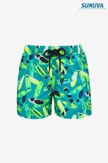 Sunuva Teal Longboard Swim Shorts