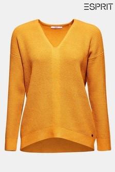 Esprit Yellow V-Neck Sweater