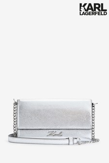 Karl Lagerfeld Silver Chain Wallet Bag
