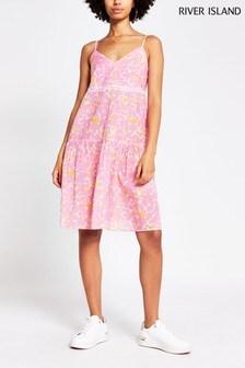 River Island Pink Bright Ladder Trim Smock Dress