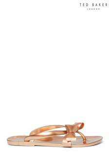Ted Baker Rose Gold Bow Flip Flops