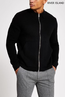 River Island Black Zip Through Knitted Shacket