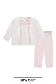 Girls Pink Cotton Sweatshirt And Trousers Set