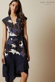 Ted Baker Blue Saretti Masquerade Printed Wrap Dress