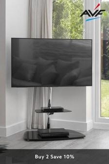 AVF Iseo Corner Pedestal TV Stand 800 Chrome / Black Glass