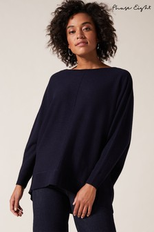 Phase Eight Blue Eve Exposed Seam Boxy Knit Jumper