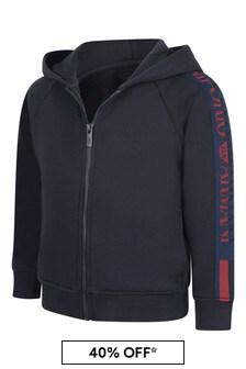 Emporio Armani Boys Navy Cotton Hooded Sweater