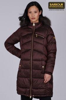 Barbour® International Longline Faux Fur Trim Padded Veith Coat