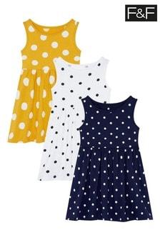 F&F Multi Spot Vest Dresses Three Pack